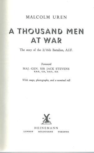 1000 Men at War 2-16th Malcolm Uren Title Page