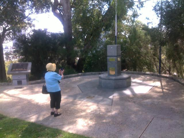 Kings Park, Perth - Joan Adams at the Memorial of the 2/16th Battalion in which her husband Ross served in WWII