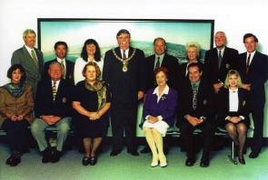 Wollongong City Council of 1995-99 - Councillor Kerrie Christian at right end in front row