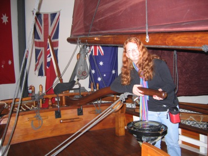 Katrina pretending to be her gt gt gt gt granddad Captain Peter Hibbs Master of the Norfolk - Supply ship to Captain Matthew Flinders when he circumnavigated Tasmania
