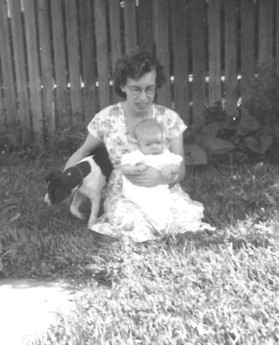 Joan Lois Adams and Baby Kerrie Anne Adams 1955 with Patchy 001